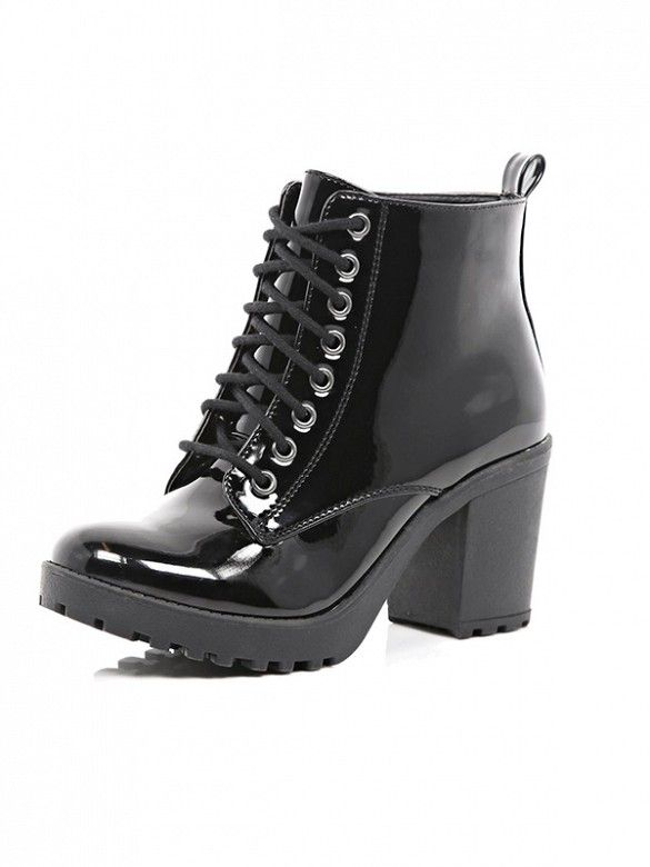 42c1a251eb5e River Island Black Patent Lace Up Ankle Boots     Shopping