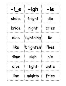 Here is a list of words with the long i sound that kids can play games with…