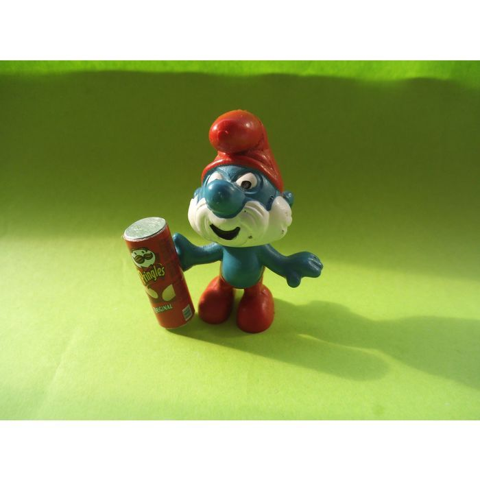 Papa smurf with a packet of Pringles custom made but an