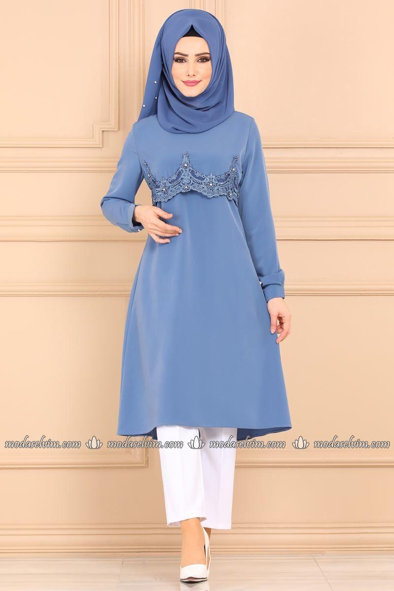Moda Selvim Gupuru Incili Tesettur Tunik Pl881 Mavi Fashion Hijab