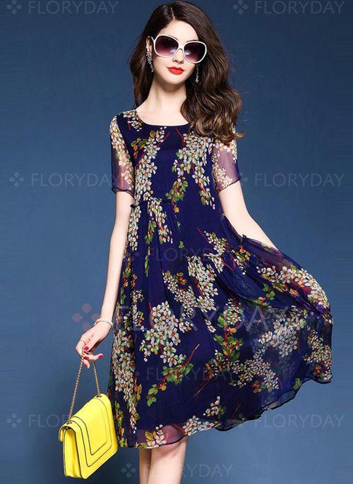52b7c4fa64ba Floral Appliques Short Sleeve Knee-Length Shift Dress - Floryday ...