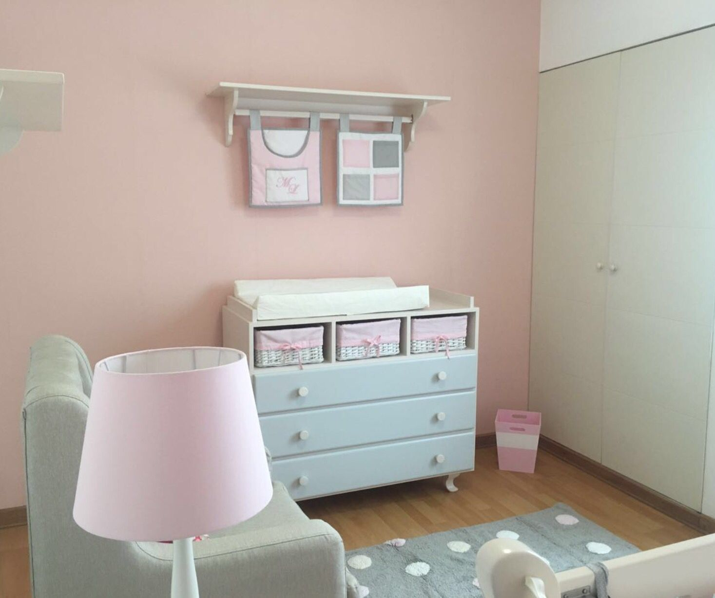 Ivory Changing station furniture with gray and pink accents. Pink ...