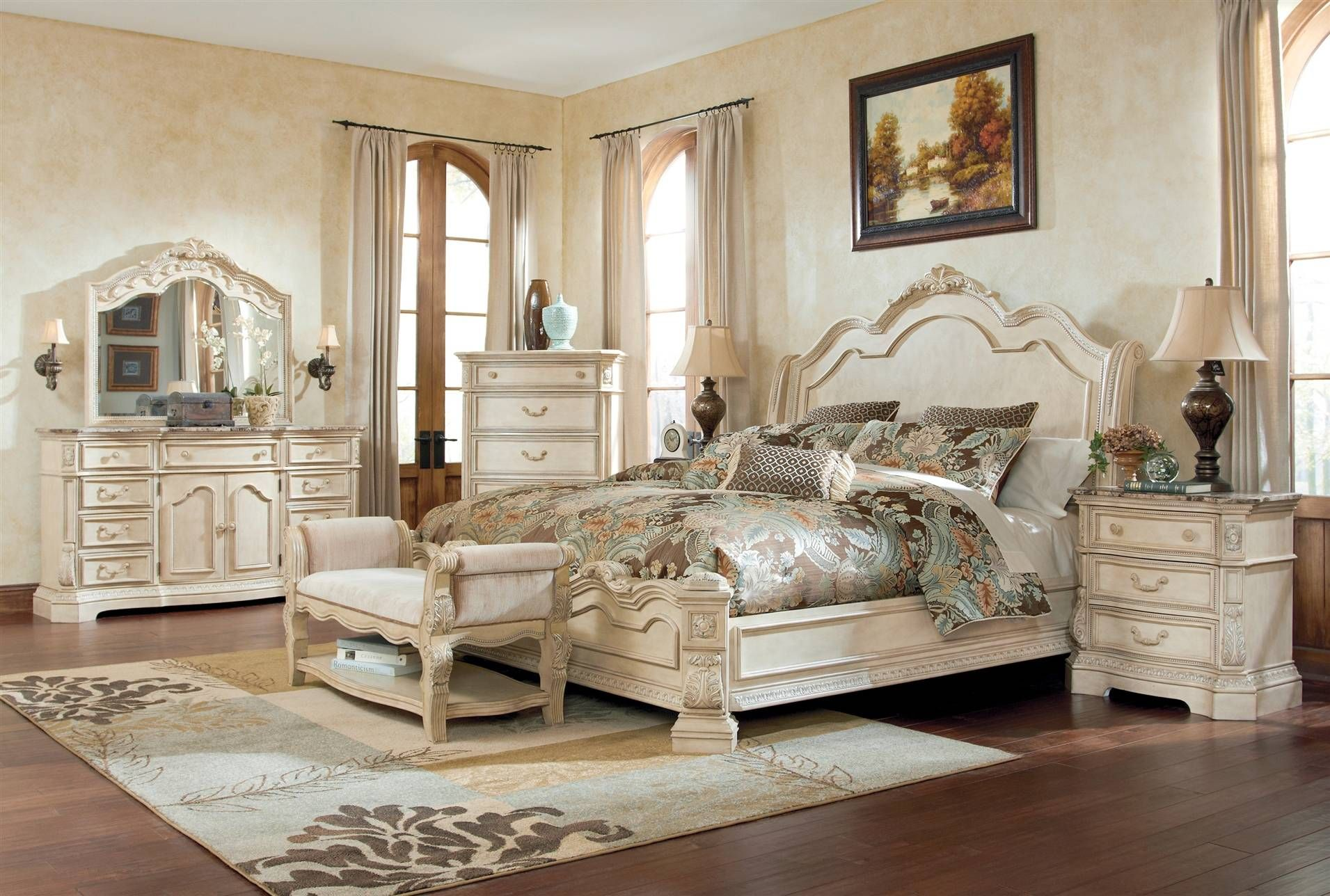Ortanique Cal King Sleigh Bed With Images White Bedroom Set Antique White Bedroom Furniture
