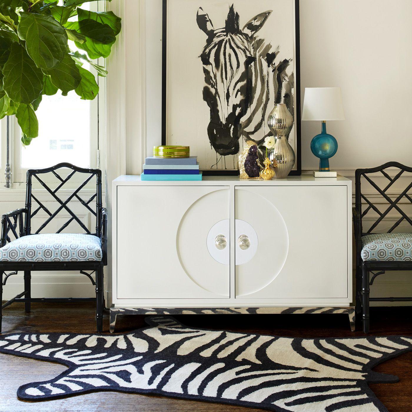 Love this zebra print rug by Jonathan Adler. Rugs - Zebra Peruvian Llama Flat Weave Rug
