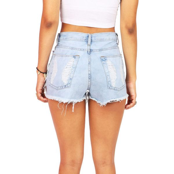 Pink Ice Beachbum High Waist Shorts ($38) ❤ liked on Polyvore featuring shorts, ripped high waisted shorts, distressed denim shorts, distressed high waisted shorts, high-waisted denim shorts and high-waisted shorts