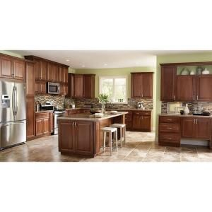 Hampton Bay Hampton Assembled 30x30x12 In Wall Kitchen Cabinet In Cognac Kw3030 Cog The Home Depot Kitchen Cabinets Home Depot Kitchen Cabinets Cherry Cabinets Kitchen