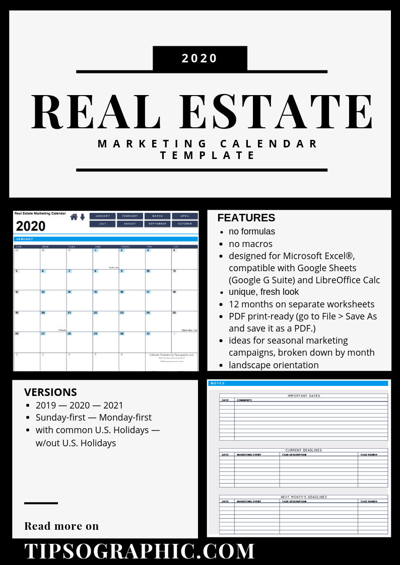 Real Estate Marketing Calendar Template for Excel (2019