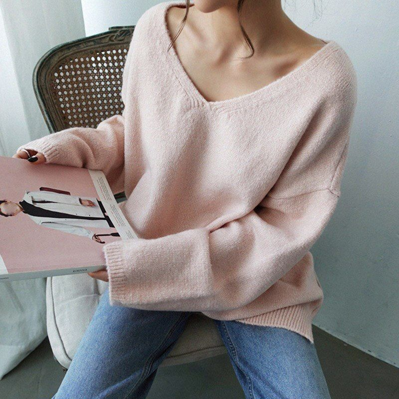 New Women Korean Fashion Winter Casual Kintted Loose Pullover Scoop Neck Sweater