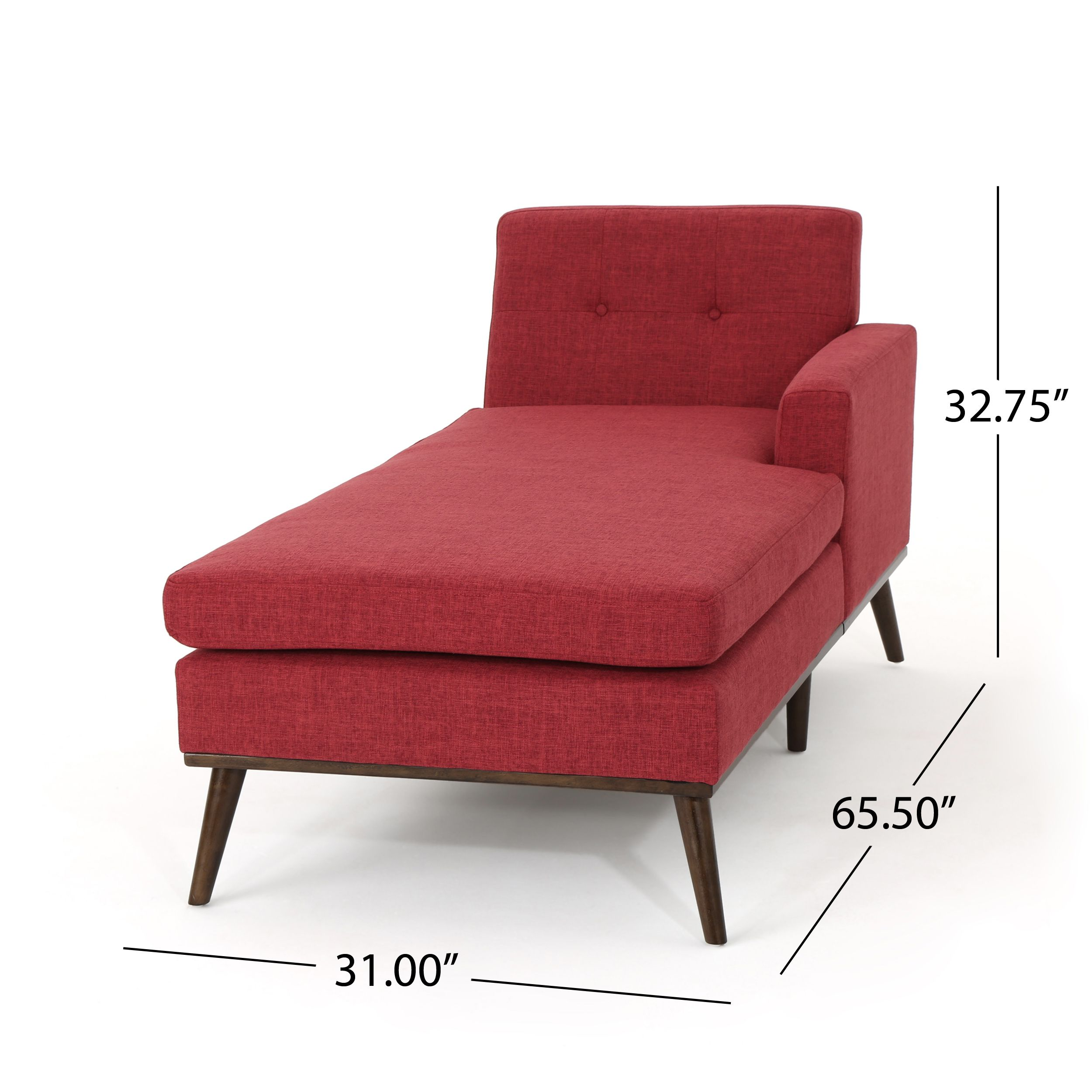Noble House Stella Mid Century Modern Fabric Chaise Lounge Red Walmart Com In 2020 Mid Century Chaise Lounge Chaise Lounge Mid Century Modern Chaise Lounge