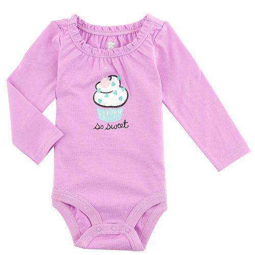 "Koala Baby Girls' Graphic Long Sleeve Bodysuit with Gathered Neckline - Babies R Us - Babies ""R"" Us"