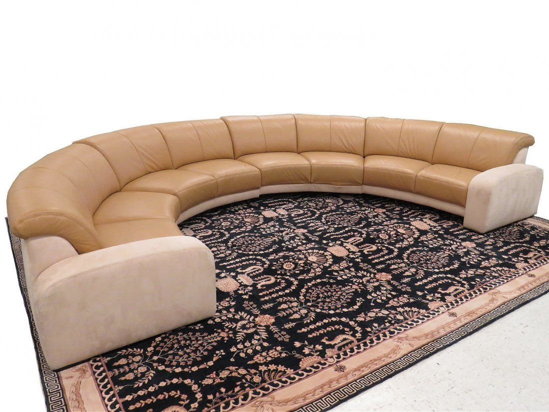 Modern Sectional Sofas W SCHILLIG CUSTOM LEATHER SUEDE HEMISPHERICAL SECTIONAL SOFA HEIGHT DEPTH