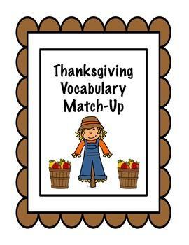 Thanksgiving Vocabulary Match Up November Speech Therapy