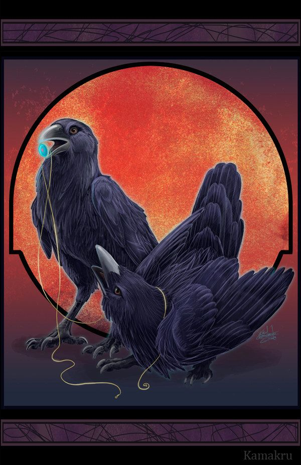 Ravens with blue crystal...