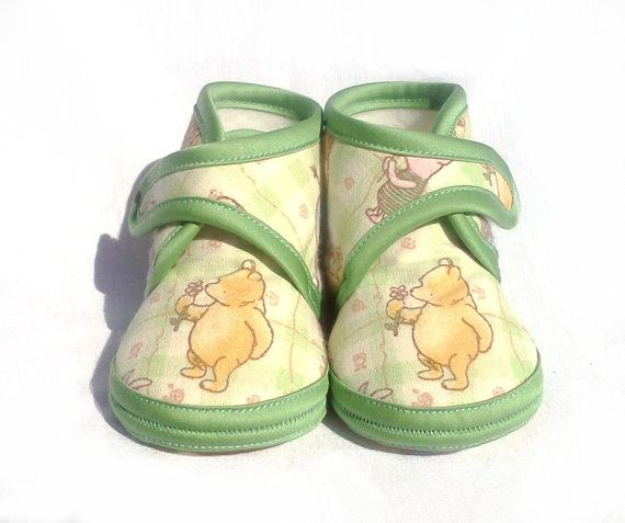 Winnie The Pooh Green Yellow Cotton Baby Shoe Unisex Happy Summer Spring  $30.24 AUD