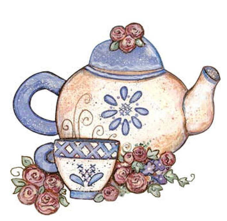 floral tea pot clipart