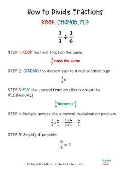 Dividing Fractions Worksheet and Notes   Dividing fractions ...