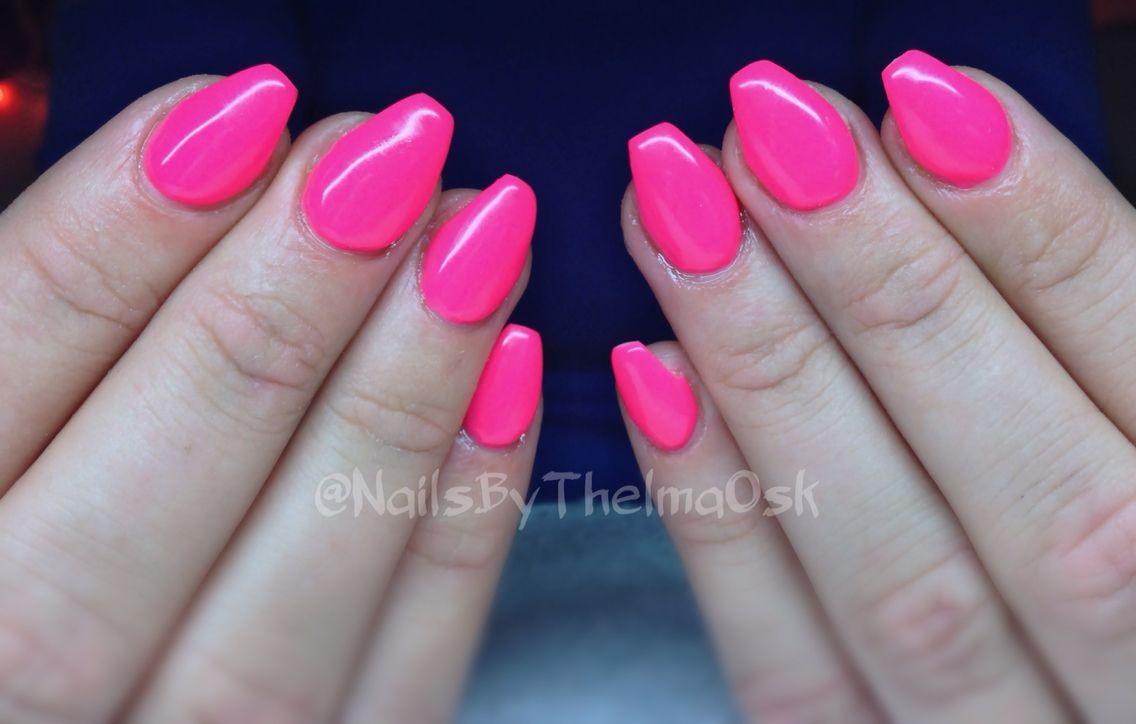 Hot Deep Neon Pink Ballerina Gel Nails With Images Ballerina
