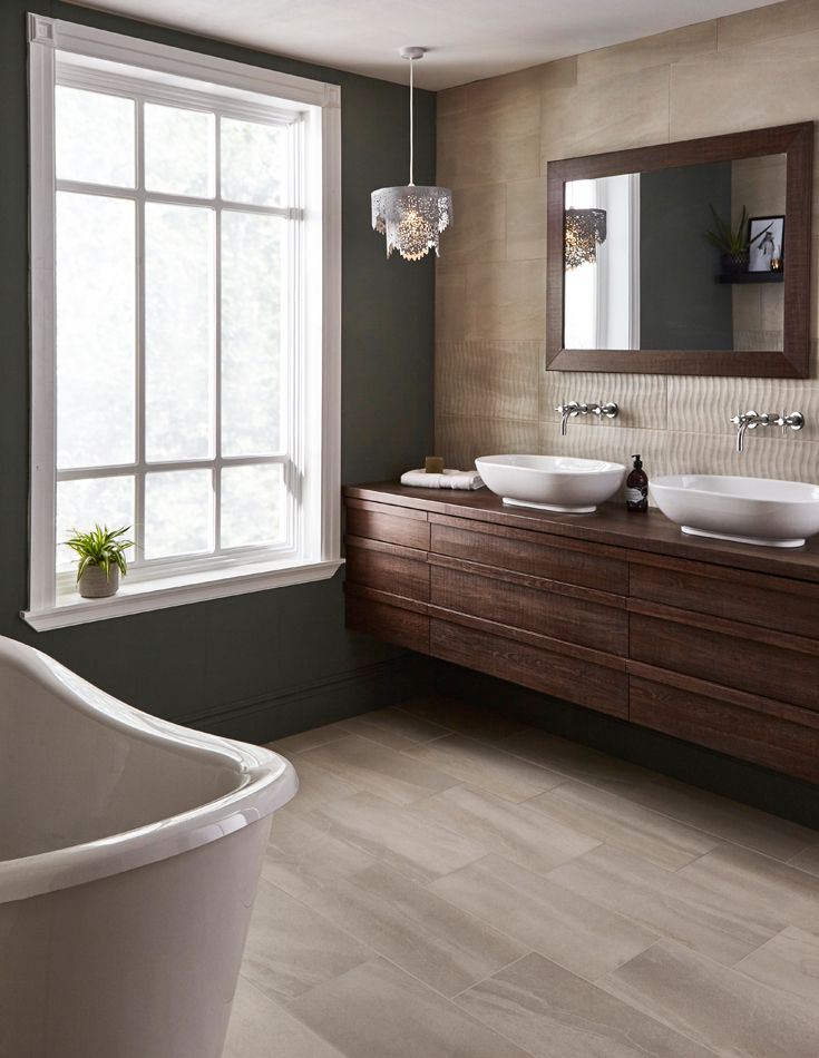 Inspired by Australia's Durba Springs known as an 'oasis in the desert' this porcelain tile has a stone-effect finish that replicates sandstone. The matt tile has subtle variation in every piece that replicate real stone. For a more contemporary space, incorporate the structured decor tile in a subtle pattern.
