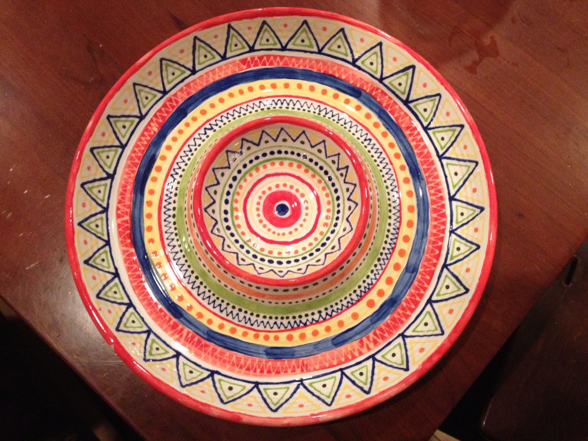 Chip n dip bowl paint your own pottery hand painted by for Paint your own pottery ideas