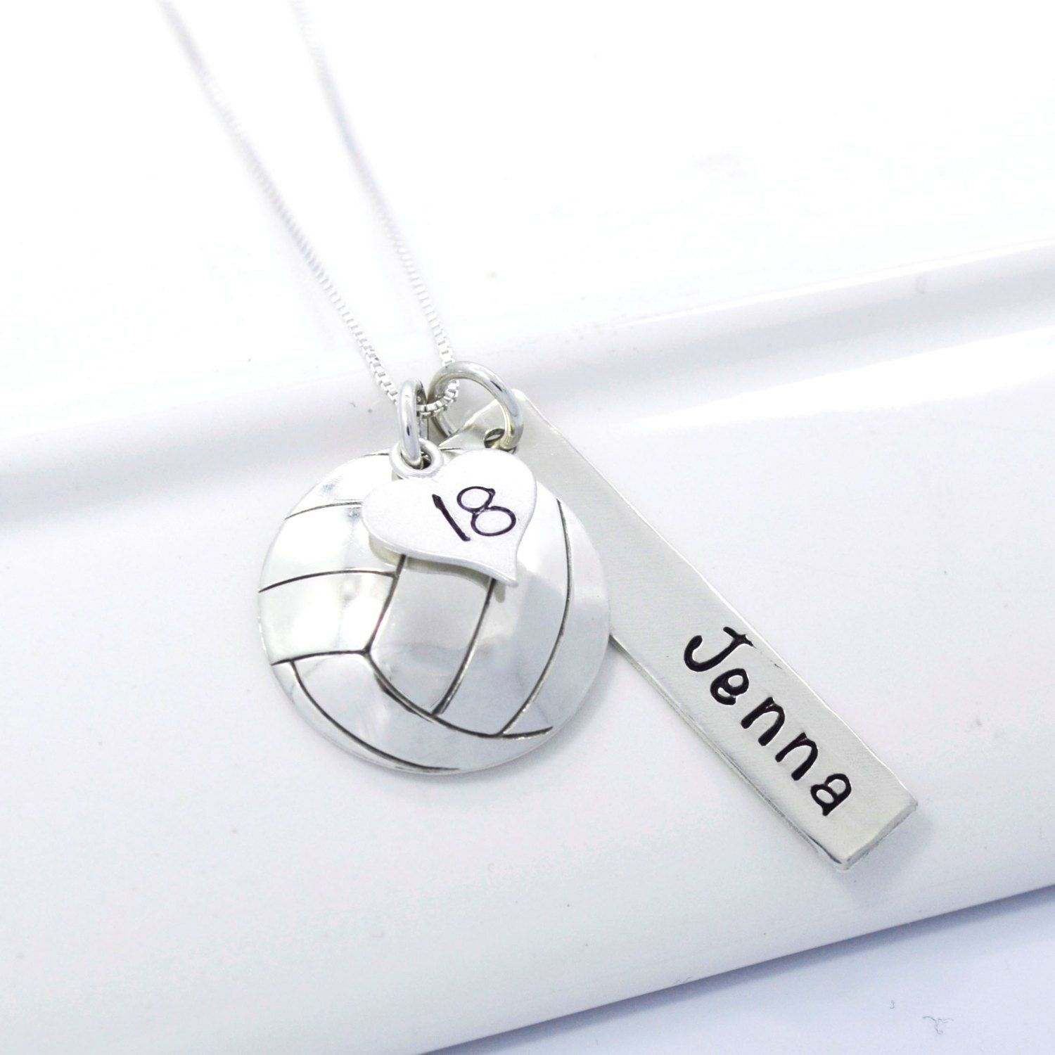 Hand Stamped Volleyball Necklace With Player S Name And Number Volleyball Necklace Volleyball Jewelry Necklace Volleyball Jewelry