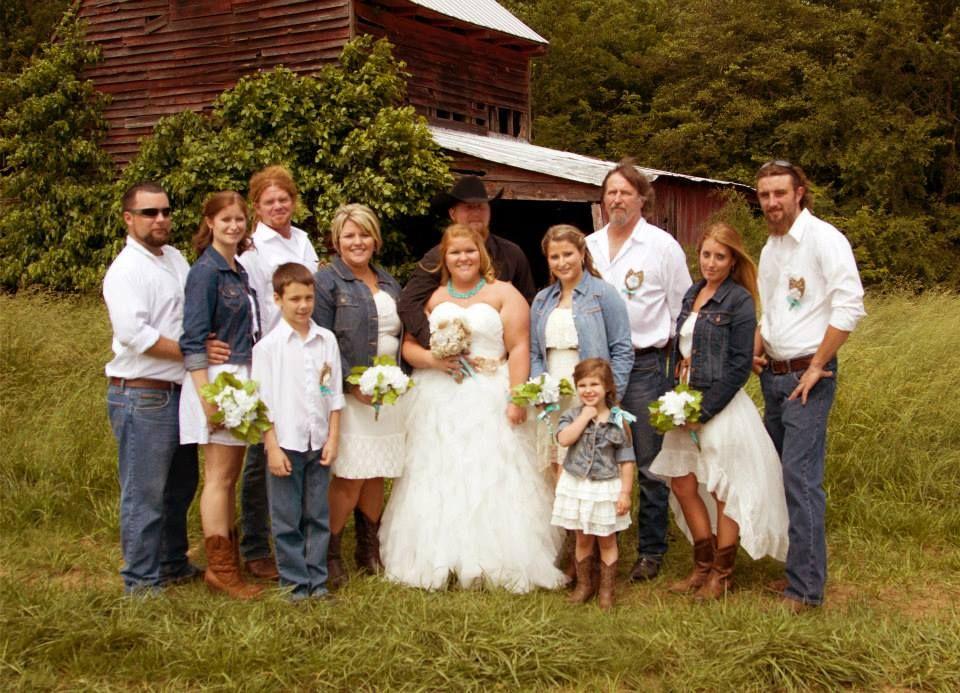 Blue Jean Jacket White Sundresses Cowboy Boots Hydrangea Bouquets
