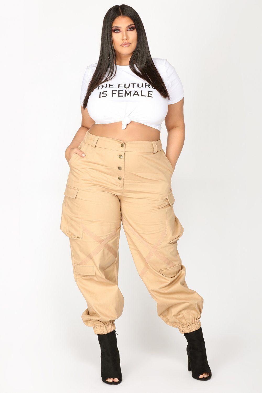 4013dbcb9b5 Amelia Oversized Cargo Pants - Khaki Big Girl Fashion