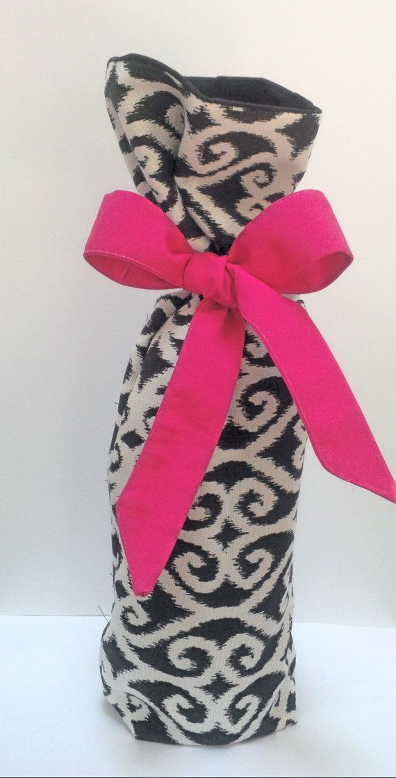 Black and White Scroll Fabric Wine Gift Bag by ECWF on Etsy, $4.00