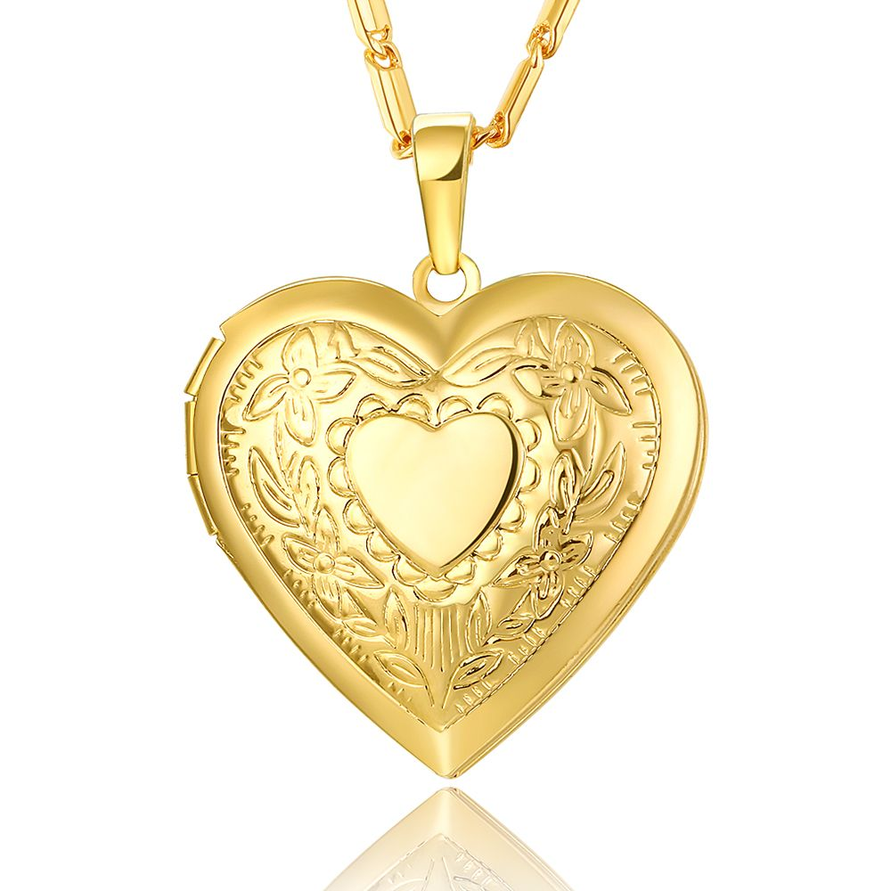 Valentines Gift Heart Locket Necklace Jewelry Wholesale New Gold ...