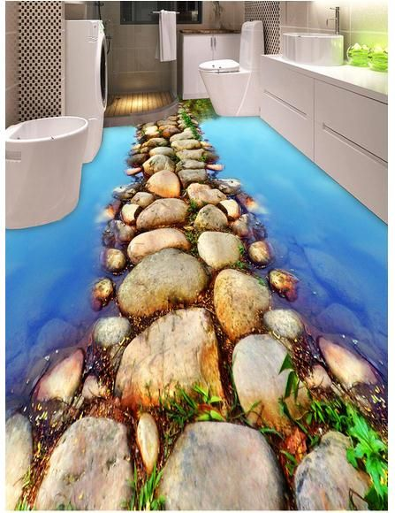 3d Wallpaper Custom 3d Flooring Mural Wallpaper Bathroom 3 D Floor Only Beautiful River Stone Path Pvc Wallpa 3d Bathroom Design Floor Design Bathroom Flooring