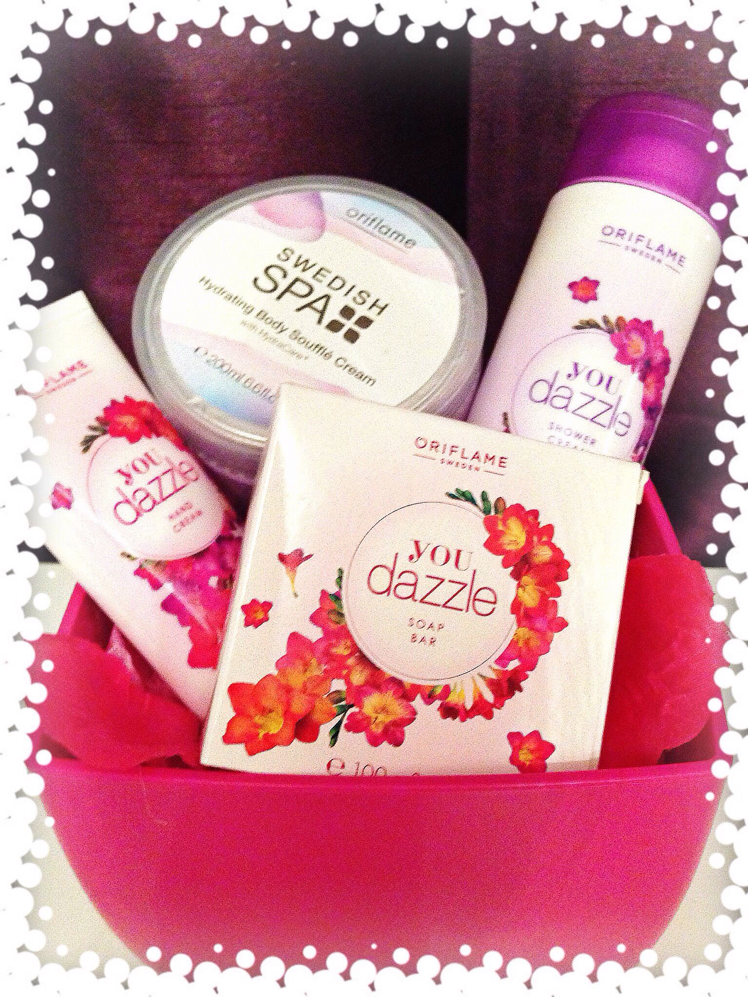 Oriflame you dazzle set of shower cream, hand cream and 2 soaps only £8.00, contact myself to purchase sinclairj69@gmail.com