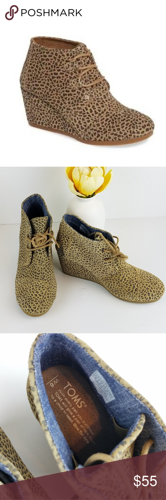 018b2dfe1d3 NWOT Toms Kala Leopard Print Booties NWOT Toms Kala Leopard Print wedge  Booties. Trendy Fall and Winter print this year!!! So cute with skinny  jeans.