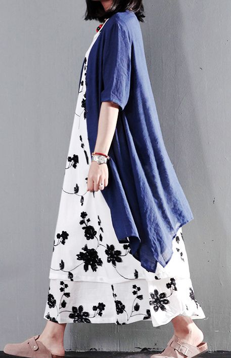Navy fake two pieces sundress asymmetric cotton summer maxi dresses