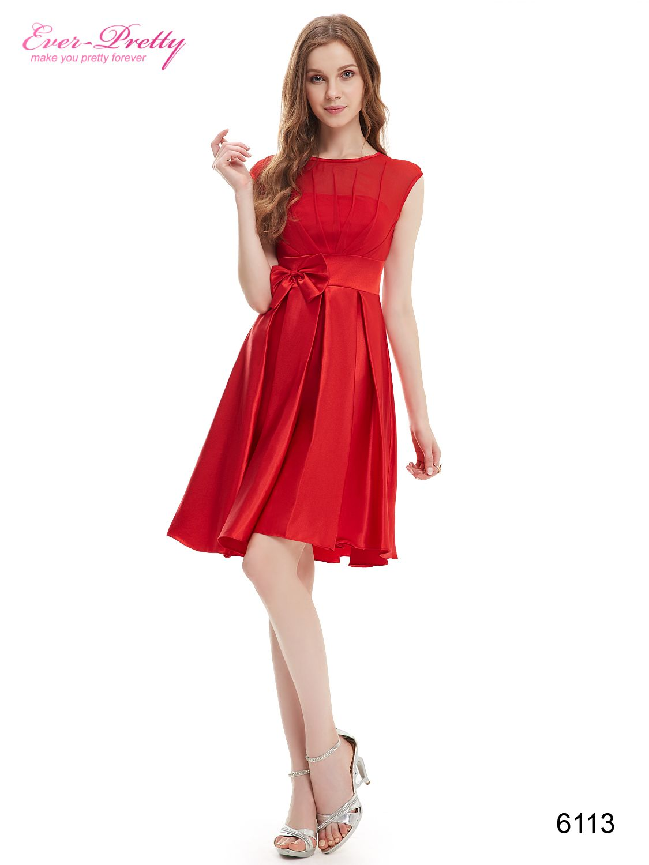Fashion Red Round Neck Ruffles Satin Women Cocktail Dress