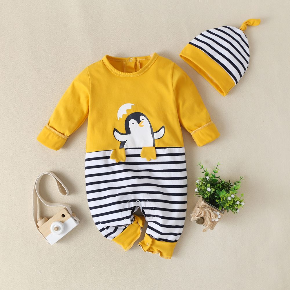 Baby Girls Animal Sleepsuit Hat Set Owl Romper All In One Baby Grow Long Sleeved