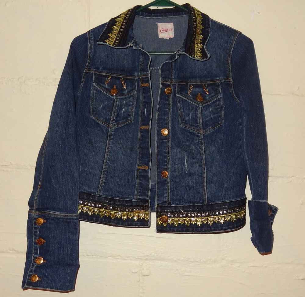 Junior Womens Candie S Jean Jacket Size M Bling Military Denim Gold Sequin Candies Jeanjacket Candies Jeans Jackets Jean Jacket [ 975 x 1000 Pixel ]
