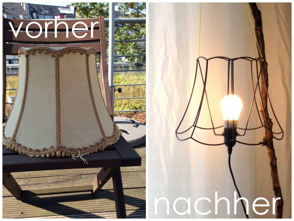 alter lampenschirm wird neue stehlampe upcycling diy. Black Bedroom Furniture Sets. Home Design Ideas