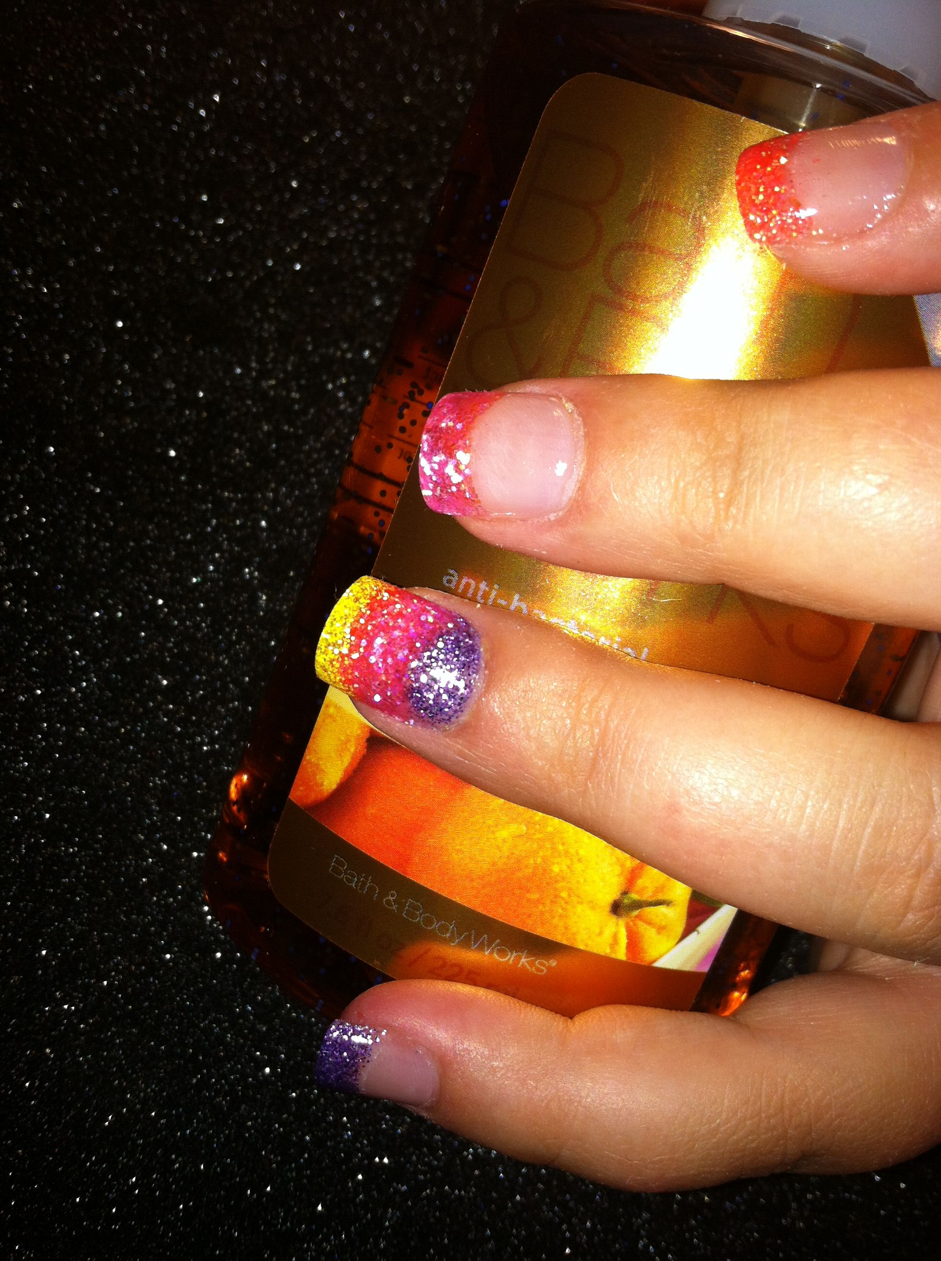 Neon acrylic rainbow French manicure nails. | Manicure ...