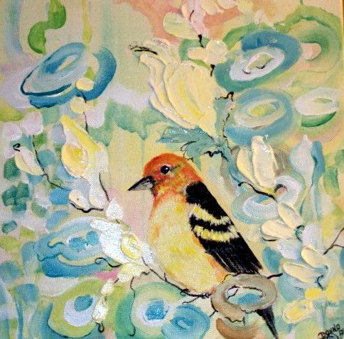 Original Western Tanager and Florals Expressionism  by bigapple60, $115.00