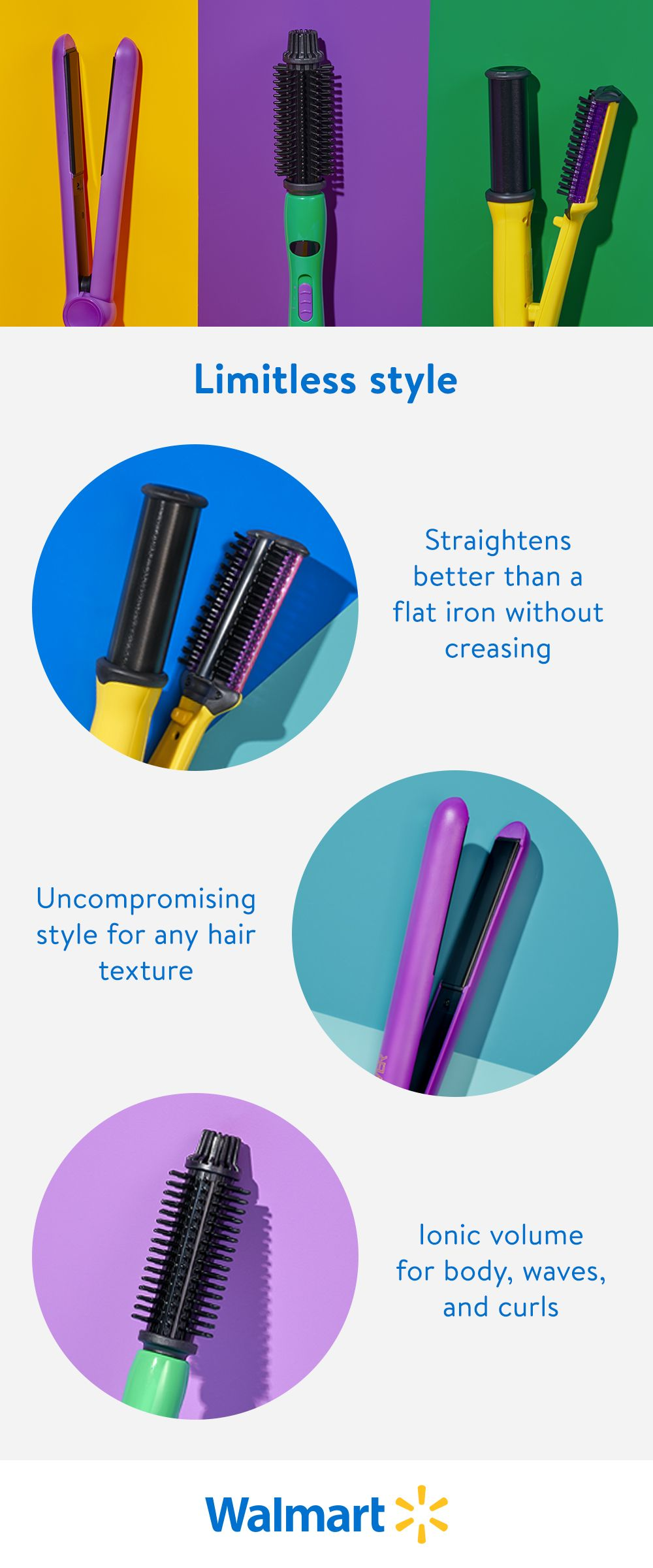 Drew Barrymore's Flower lineup of straightening and curling hair tools is launching exclusively at Walmart. Achieve the look you want effortlessly with styling options to help tame frizz and bring out your hair's body.