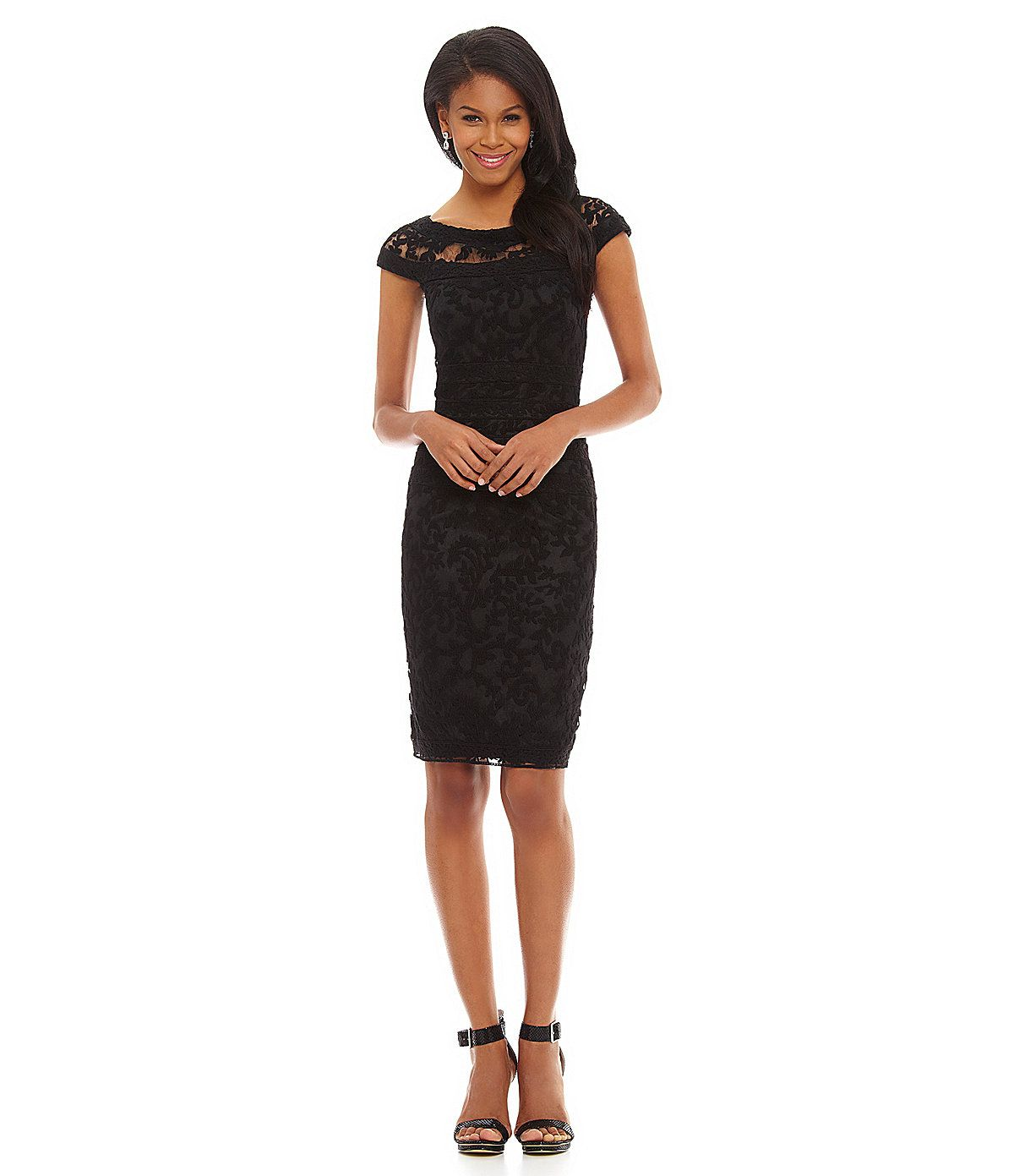 Tadashi Embroidered Lace-Banded Cocktail Dress   Dillards.com   Chic ...