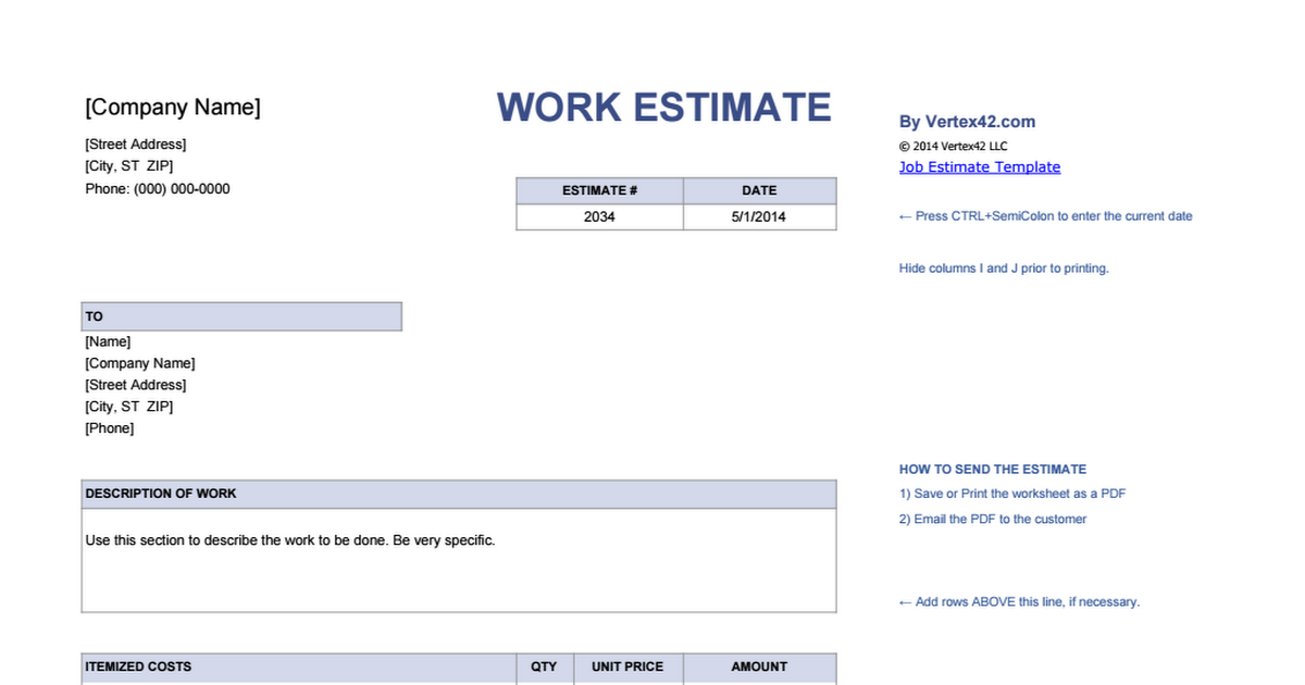 Invoice  Company Name Work Estimate By Vertex Com  Street