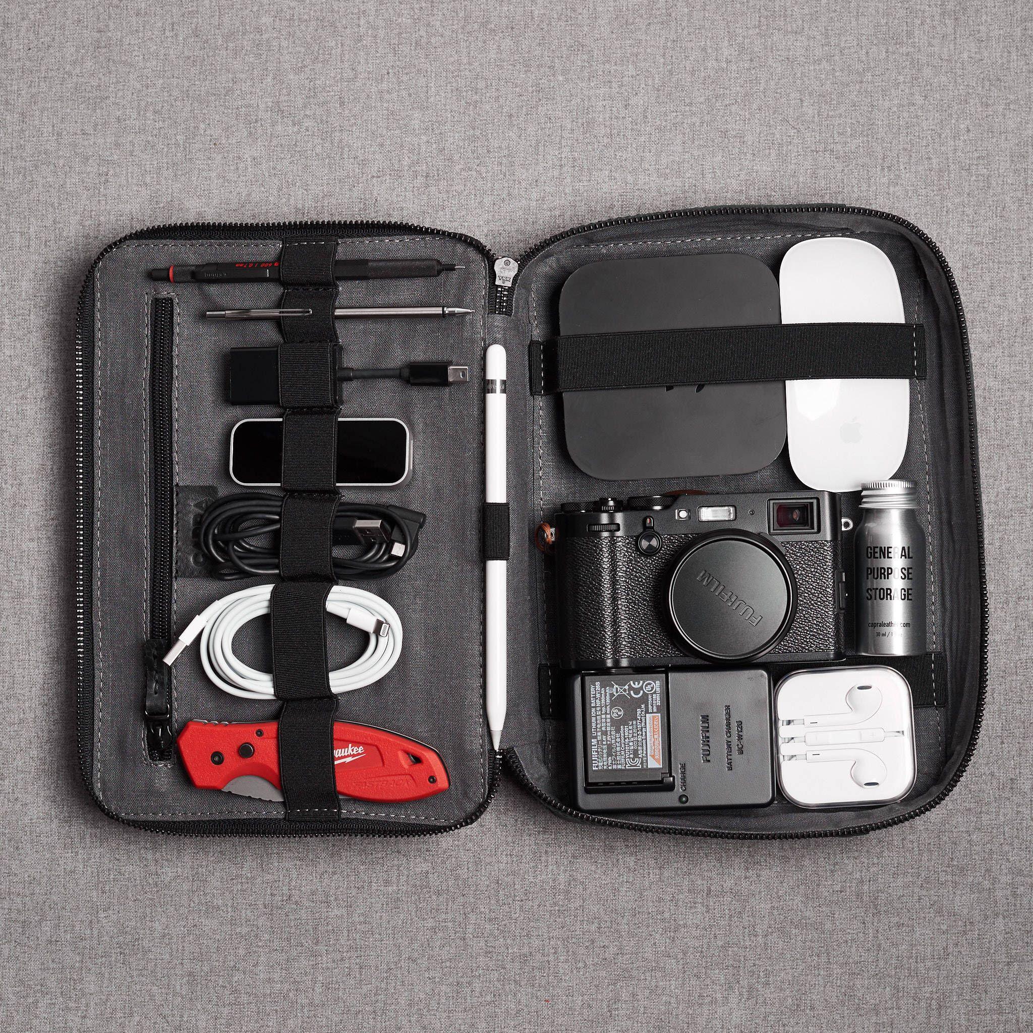 4e6e83fc121 Black leather Gadget Travel Bag, iPad leather bag, tech dopp kit, cable ties