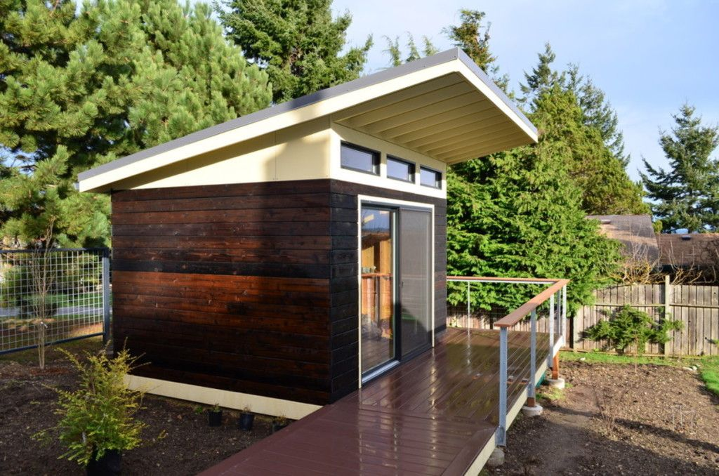 Exterior Breathtaking Modern Shed Design With Black And