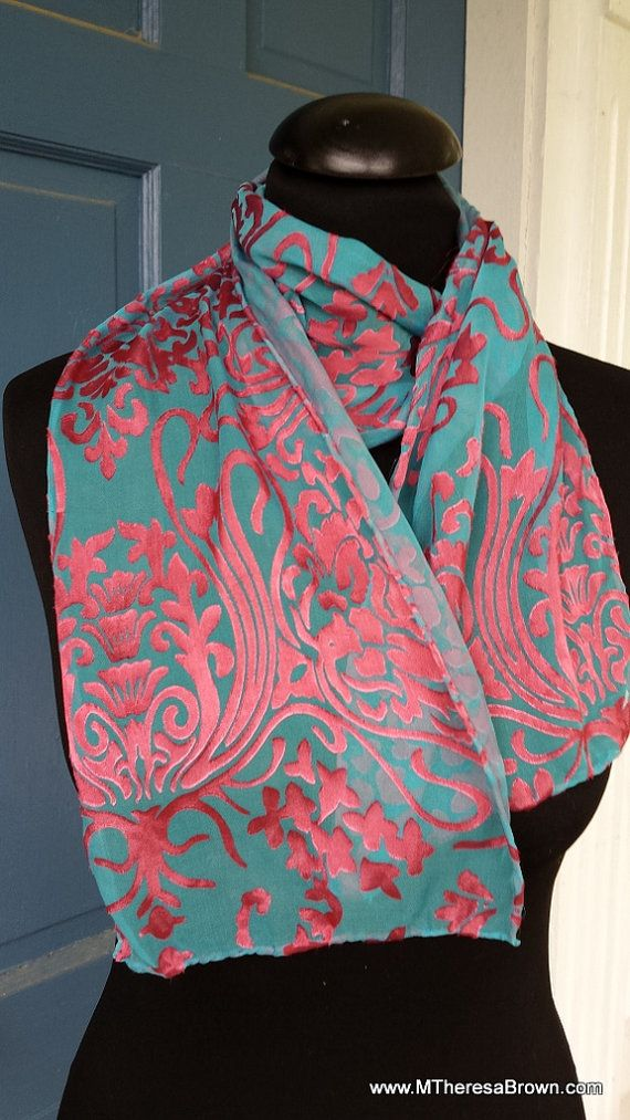Beautiful blue & burgundy silk scarf.Original by M Theresa Brown of onroadartists,