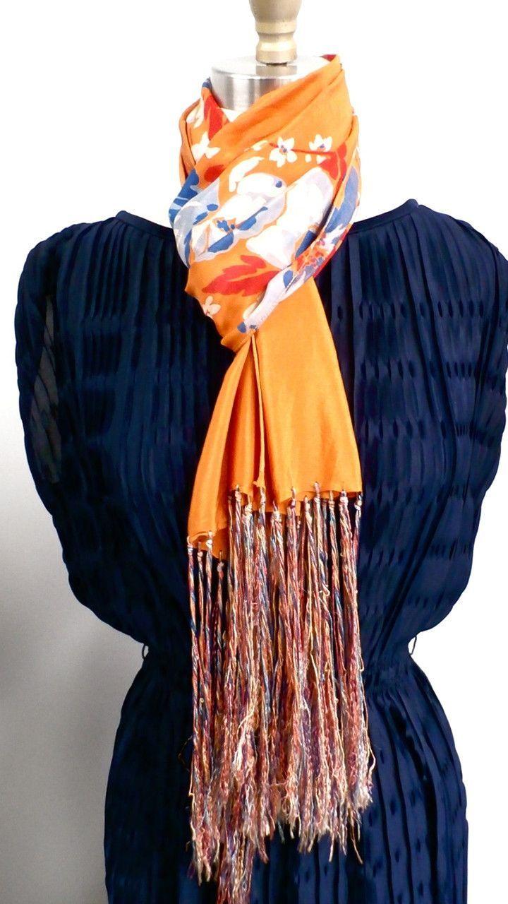 Vintage Womens Silk Scarf 1920s Floral Orange Blue Long Vintage Silk Scarf Silk Scarf Royal Blue Flowers