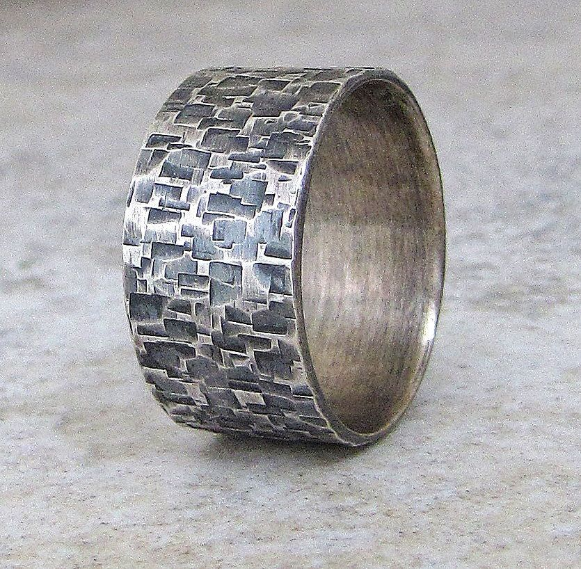 Silver Hammered Ring Wedding Band Distressed Wedding Ring Rustic