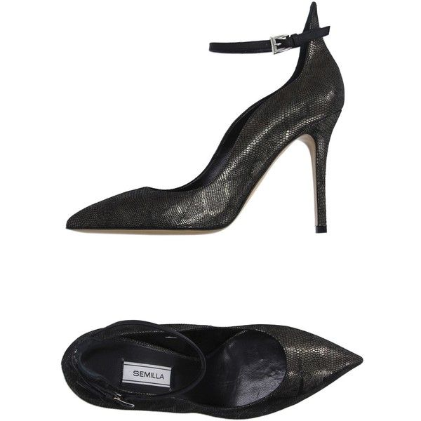 Semilla Pump (€220) ❤ liked on Polyvore featuring shoes, pumps, steel grey, leather shoes, ankle strap stilettos, heels stilettos, ankle tie shoes and ankle strap pumps
