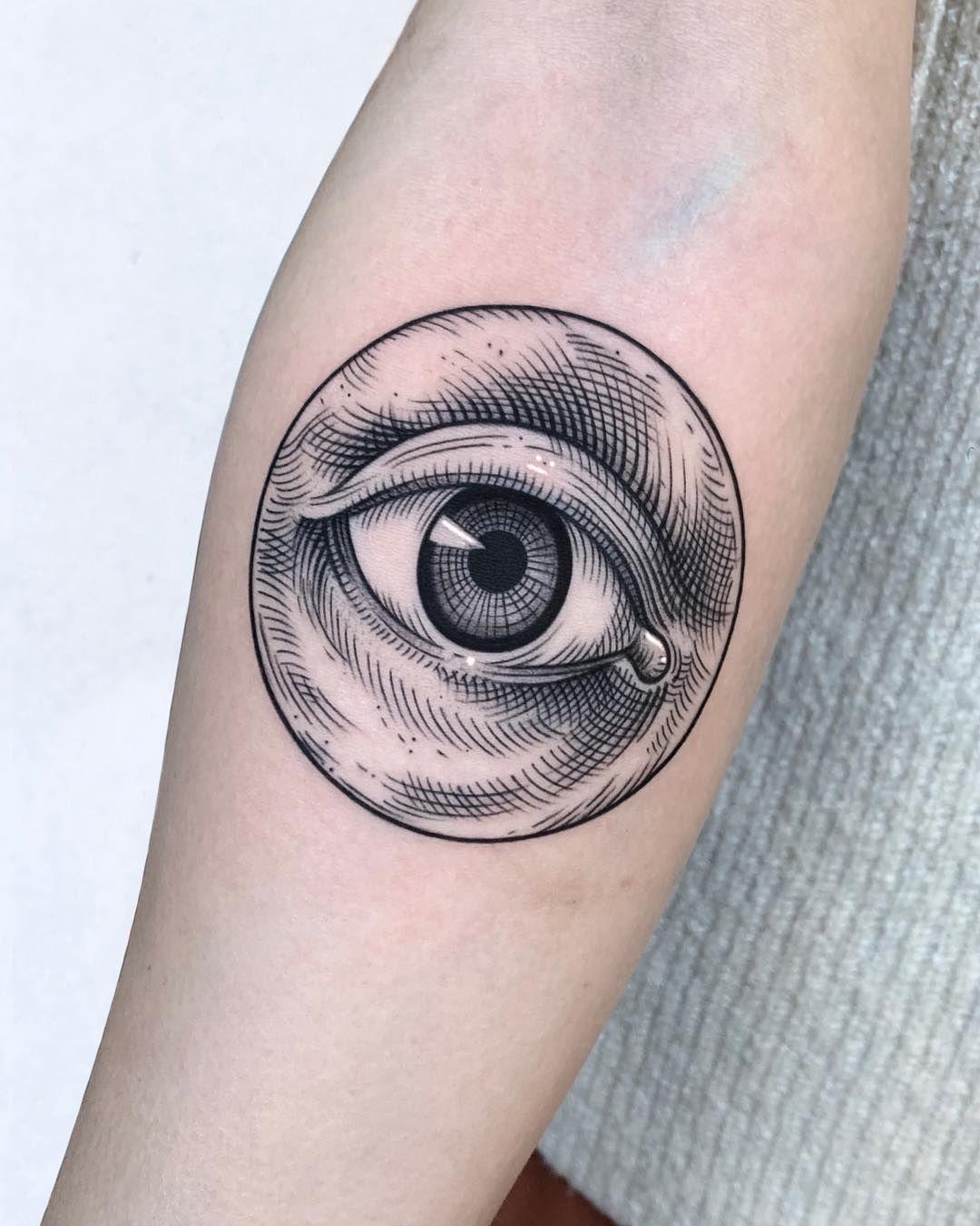 Eye tattoo fine line blackwork tattoo Blue ink tattoos
