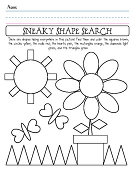 Shape Identification Worksheet Shapes Worksheet Kindergarten