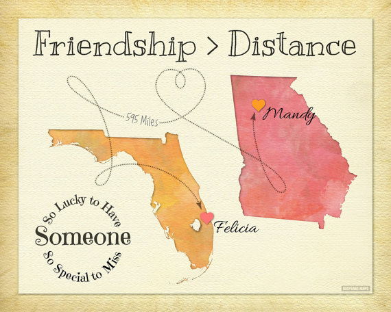 Friendship quote print personalized best friend map gift moving friendship quote print personalized best friend map gift moving away from home present negle Choice Image